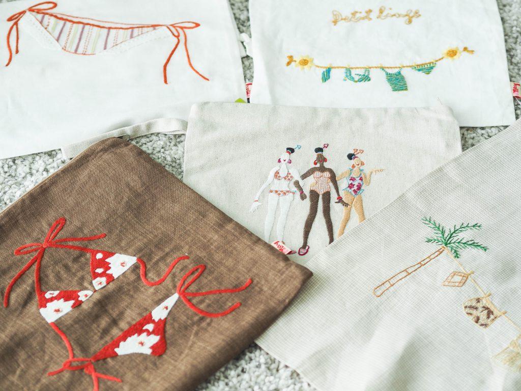 Linen lingerie pouches-handmade souvenir in hanoi